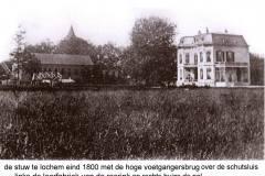 Stuw en Sluis, eind 1800, rechts Villa De Pol