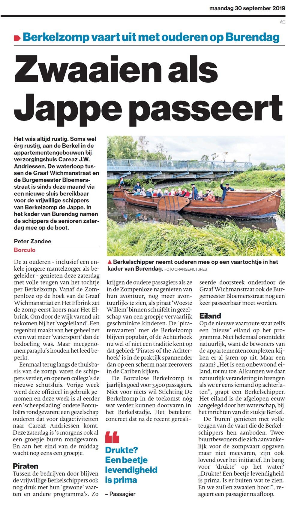 Tubantia: Zwaaien als Jappe passeert
