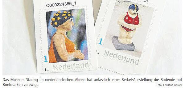 Badende postzegels halen de krant in Coesfeld