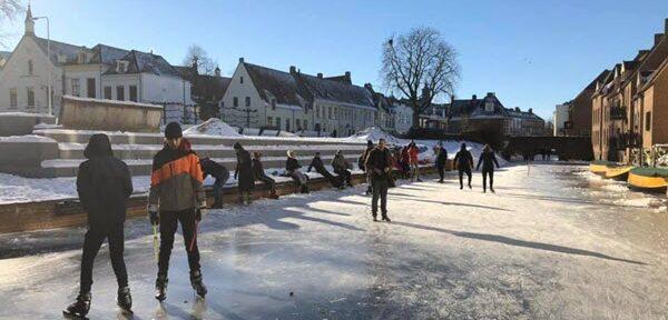 Schaatsen op de Berkel in Zutphen
